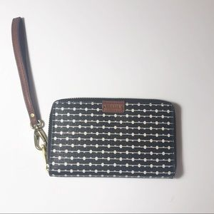 Fossil Jori RFID Wristlet IPhone Black Stripe